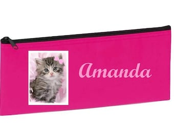 School Kit pink kitten personalized with name