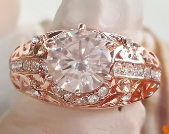 Clear Topaz & 14K Rose Gold Plated Sterling Silver Ring