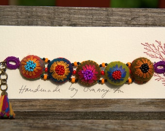Colorful felt and embroidered wool (No. 9) bracelet