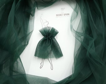 1183m Wide Tulle by the Roll Elven Wedding Dress Art Deco #92 Dark Green Tulle Fabric Soft Tulle by the Bolt Emerald Tulle Material