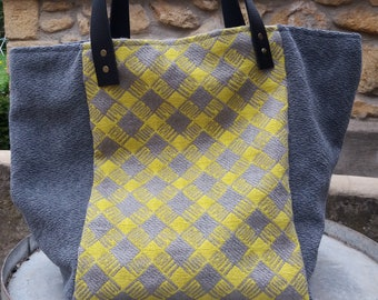 Tote fabric lime green and gray, leather handles