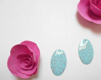 x 2 sequins teal and grey 26 mm