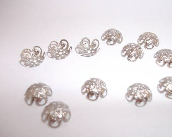 set of 50 silver cups 5 petals size 10 mm