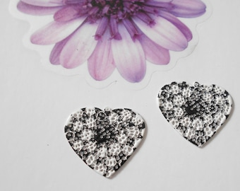 x 2 black and white enamel heart charms
