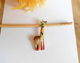 1 gold giraffe pendant enameled multicolored 33 x 16 mm