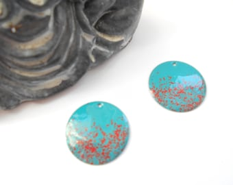 x 2 sequins enamelled 20 mm turquoise/Red