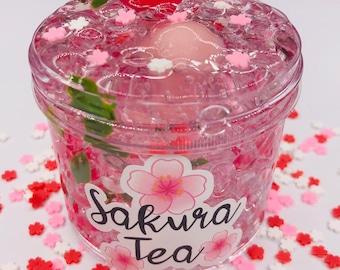 Sakura Tea Fishbowl Slime ~ Clear slime ~ fishbowl slime ~ scented slime ~ Fimo Fruit Slices