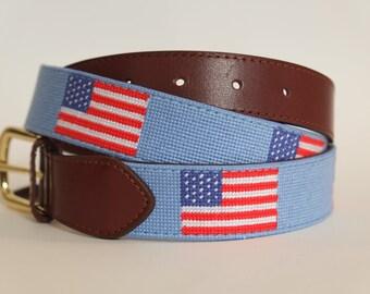 American Flag Needlepoint Belt - Light Blue - Magnolia Row 916b06c318