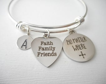 25787fbc035 Faith Family Friends, No Matter Where -Initial Bracelet/ Mother, sister,  daughter, aunt and niece, friend, long distance, friendship gift