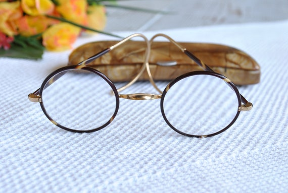 cde10bcec2 Antique Gold and Tortoise Frame Spectacles Eyeglasses with