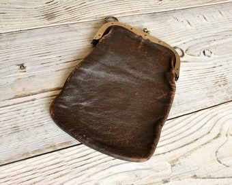 Antique Leather Coin Purse - Tiny Wallet