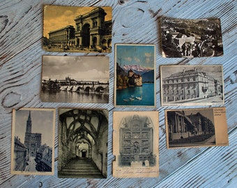 Lot of 9 Vintage European Postcards of 1930s.Beautiful postcards