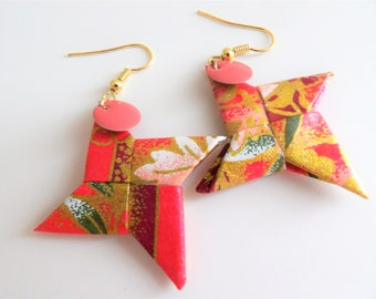 Shuriken origami star earrings