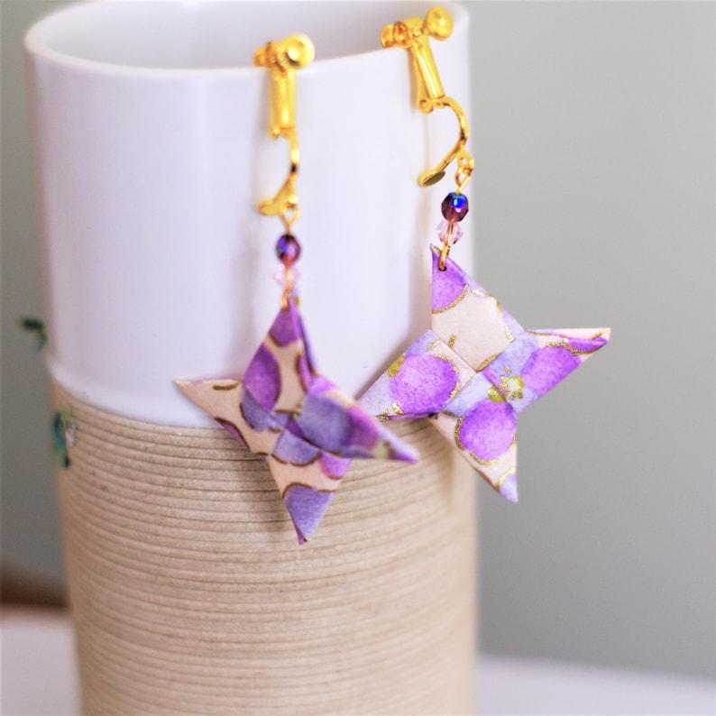 origami star earrings Pearlorigami stars Origami Star Pink Purple origami jewel