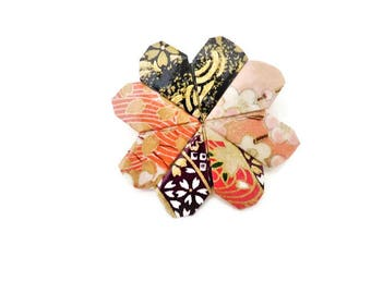 Origami black & pink heart brooch / / gift idea for mother's day, birthday, Valentine's day