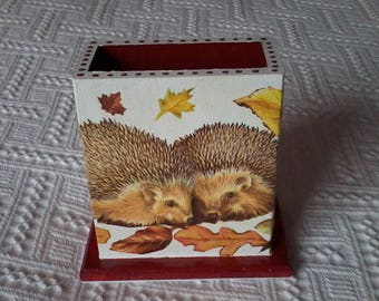 Door-remote control box or pencil holder wooden themed hedgehogs