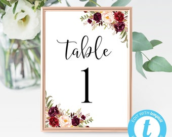 table number template etsy