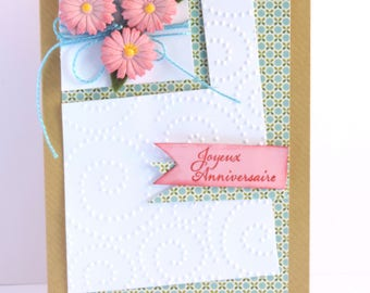 woman birthday card, made pink flowers, scrapbooking