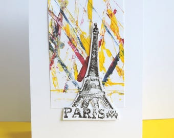 Paris party, any occasion, handmade card