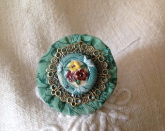 Ring the secret garden fabric yoyo, cabochon