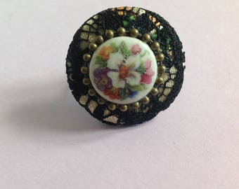 Retro vintage button ring and charmeuse wish