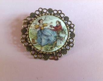 Vintage Limoges porcelain brooch
