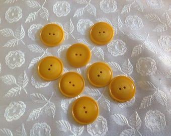 Set of eight buttons, round, saffron