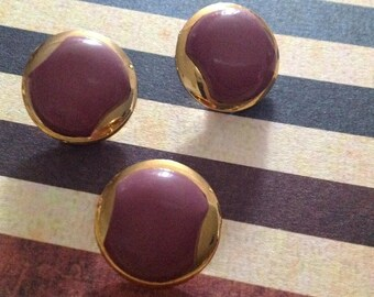 Set of three buttons round vintage 50s - 60s