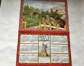 Vintage Tea towel. Old calendar