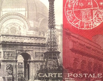 Paris - postcard paper towel