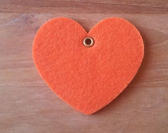 Orange felt heart T24