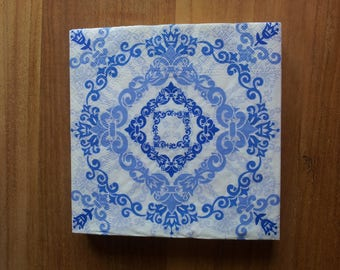 White and blue paper towel
