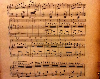 2 sheets, pages, old sheet music - 20 x 29.5 cm