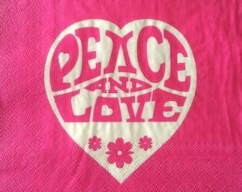 Napkin peace and love
