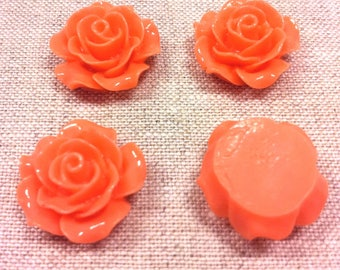 Set of 4 T 3 coral colored flower cabochons