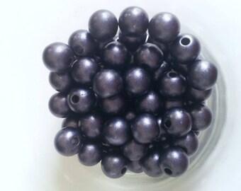 20 round beads blue effect metallic T40