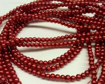 Set of 30 pearls - red - effect - 3 mm T3