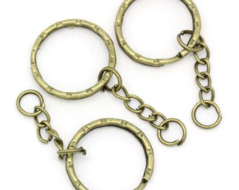 Set of 10 metal rings bronze Keyring with chain - T7