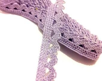 2 meters of cotton - purple lace - 1.3 cm T42