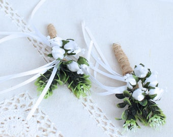 Sashes Headbands Corsages Brown Flowers Silk Organza for Bridal MF38 Boutonnieres Hats