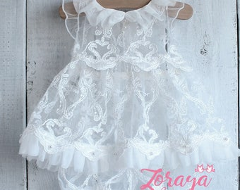 Wedding Sitters Dress, White Lace Dress, Flower Girl,Photography Props,White Wedding, Baptism,6-9mo,Baby Girl Outfit, Crown,Baby Lace Dress