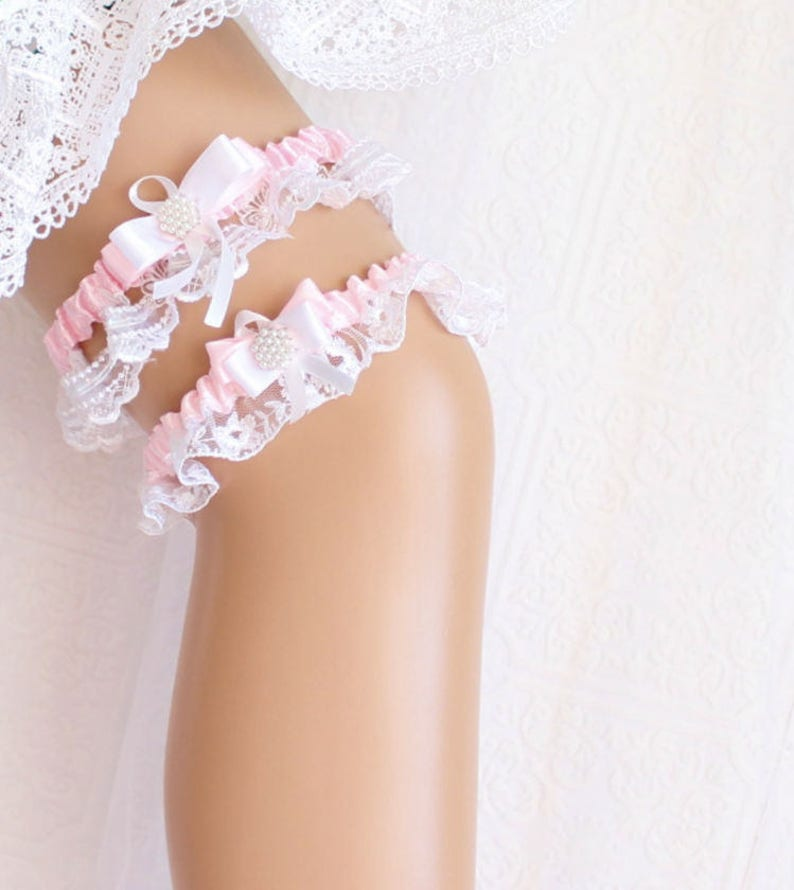 Wedding Accessories,White and Pink,Lace Garter Set,Toss Garter Pink Wedding Garter,White Pink Garter Set Bridal Garter Set Zoraya Crowns