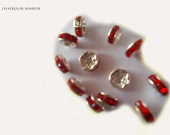 set of 10 Red rondelle beads