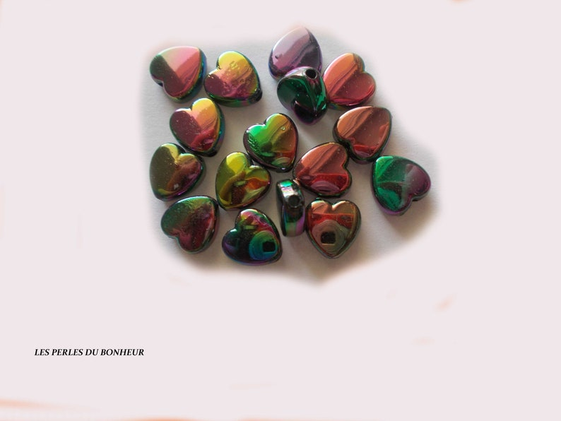 lot de 20 perles coeur briante argent\u00e9-bleu gris vert