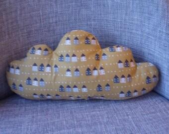 mustard yellow cloud patterns home cushion