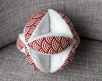 gripping graphic red and white ball, montessorri