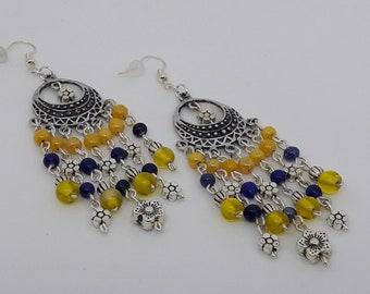 Bohemian earrings blue/yellow on antique silver chandelier - long Silver earrings - antique Silver earrings - silver jewelry