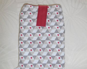 Case cell phone with pull - geometric pattern - taupe, beige, red - cotton