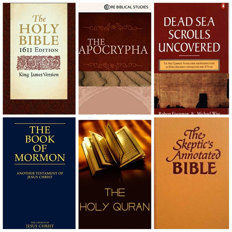 EBOOK lot 7 Books, Skeptics Annotated Bible, The Dead Sea Scrolls  Uncovered, Holy Bible 1611, The Apocrypha, The Quran, The Book of Mormon