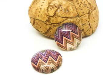 2 glass cabochons 14mm geometric Chevron purple/orange/beige (SFCV11-02)